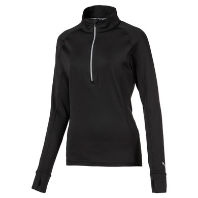 Puma Ladies Rotation Long Sleeve Quarter Zip- Black