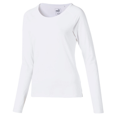 Puma Ladies Long Sleeve Base Layer Sun Crew with UPF 50 Protection- White
