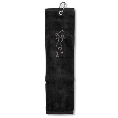 Ladies Crystal Lady Tri-Fold Golf Towel- Black