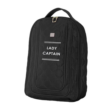 Lady Captain Embroidered Shoe Bag-Black