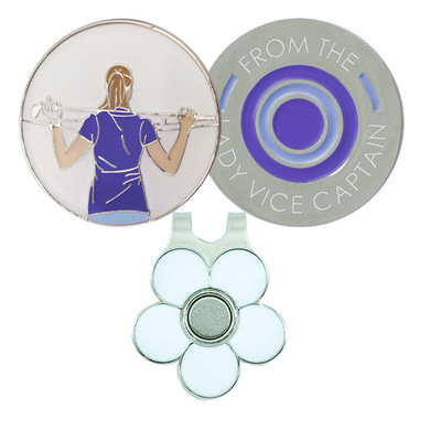 From The Lady Vice Captain  Golf Ball Marker and Visor Clip - Blue