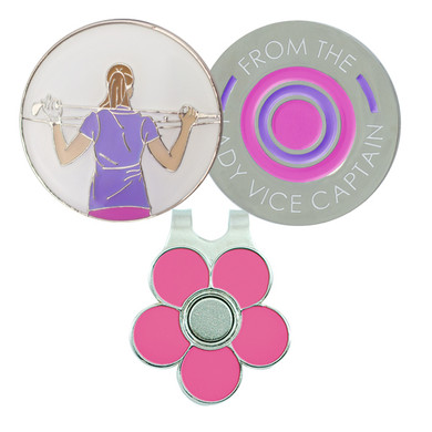 From The Lady Vice Captain  Golf Ball Marker and Visor Clip - Pink