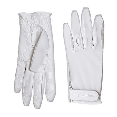 All Weather Ladies Golf Mesh Sun Glove with Nail and Ring Protection- White