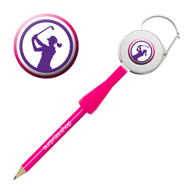 Lady Golfer Retractable Pencil - Purple