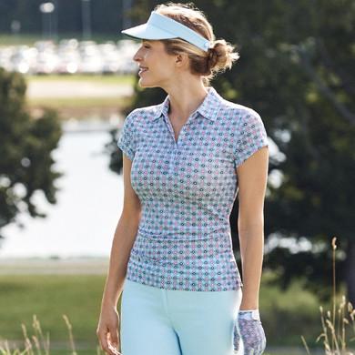 Daily Sports Sue Sheer Mesh Cap Sleeve Polo Shirt - Blue Breeze