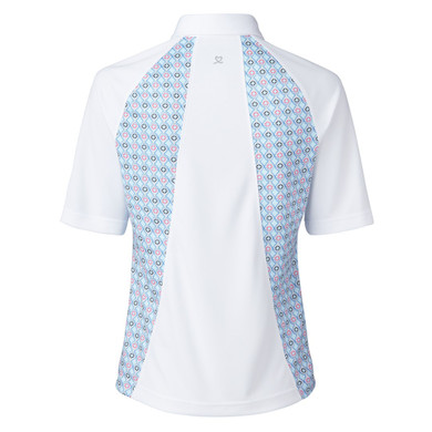 Daily Sports Sue Half Sleeve Polo- White and Blue Breeze