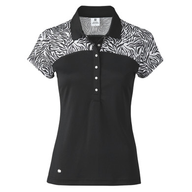 Daily Sports Zilian Cap Sleeve Polo- Black and Zebra