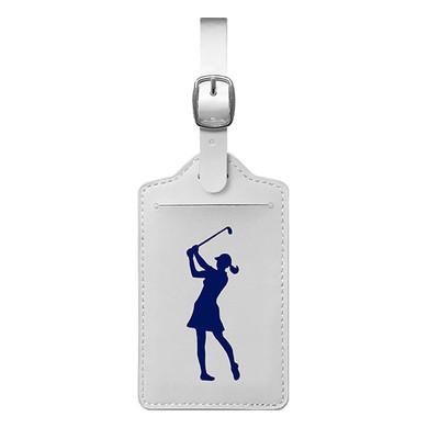 Lady Golfer Luggage Tag - White / Blue