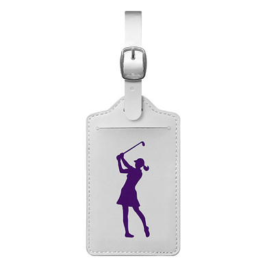 Lady Golfer Luggage Tag - White / Purple