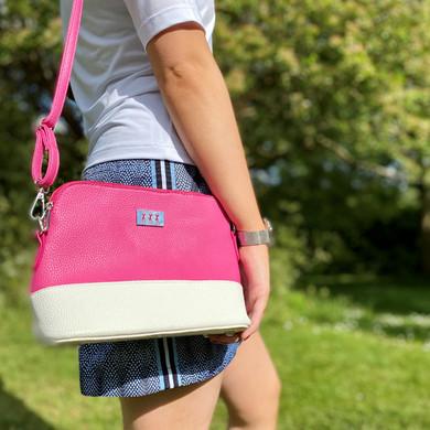Lady Golfer Strap Golf Handbag- Pink and White