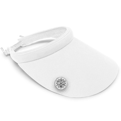 Ladies Golf Wide Brimmed Telephone Wire Visor with Crystal Ball Marker - White