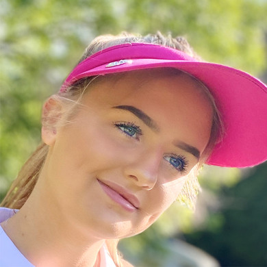 Ladies Golf Wide Brimmed Telephone Wire Visor with Crystal Ball Marker - Pink