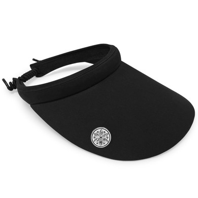 Ladies Golf Wide Brimmed Telephone Wire Visor with Crystal Ball Marker - Black
