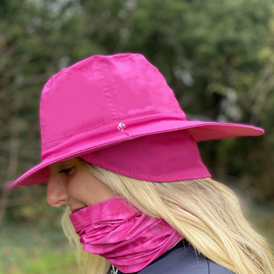 Ladies Golf Waterproof Fleece Lined Rain Hat- Pink