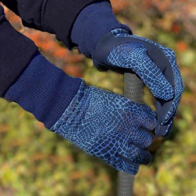 Ladies Golf Polar Stretch Pair of Winter Gloves - Navy Snake