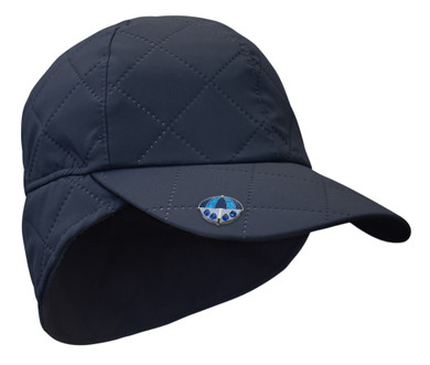 Ladies Golf Waterproof Fleece Lined Rain Cap with Crystal Umbrella Ball Marker - Navy