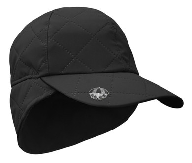 Ladies Golf Waterproof Fleece Lined Rain Cap with Crystal Umbrella Ball Marker - Black