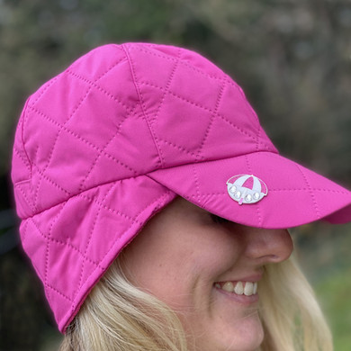 Ladies Golf Waterproof Fleece Lined Rain Cap with Crystal Umbrella Ball Marker - Pink