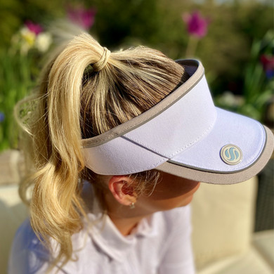 Ladies Golf Velcro Visor with Matching Ball Marker - White