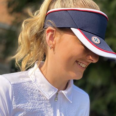 Ladies Golf Velcro Visor with Matching Ball Marker - Navy