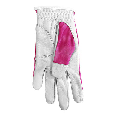 Cabretta Leather Lycra Comfort Stretch Ladies Golf Glove - Flamingo Pink Feather