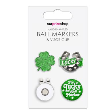 Good Luck Golf Ball Marker and Visor Clip Set