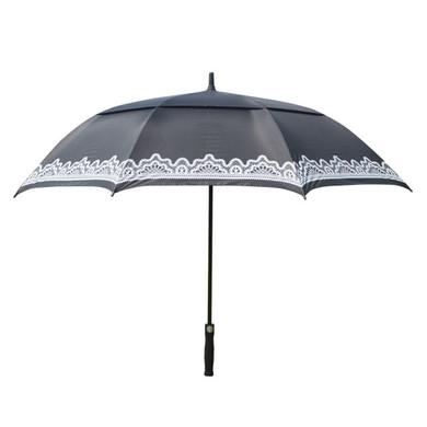 Ladies Golf Umbrella with Lace Design- Black