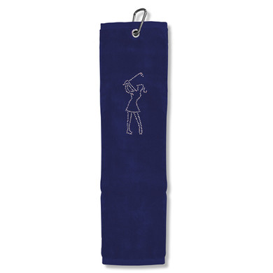 Ladies Crystal Lady Tri-Fold Golf Towel- Navy
