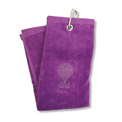 Ladies Crystal Golf Ball and Tee Tri-Fold Golf Towel- Purple
