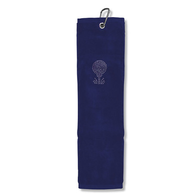 Ladies Crystal Golf Ball and Tee Tri-Fold Golf Towel- Navy
