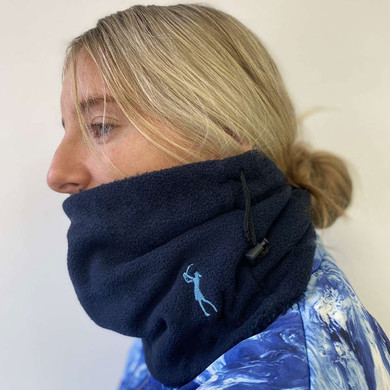 Soft Fleece Lined Womens Golf Snood with Embroidered Lady Golfer- Navy