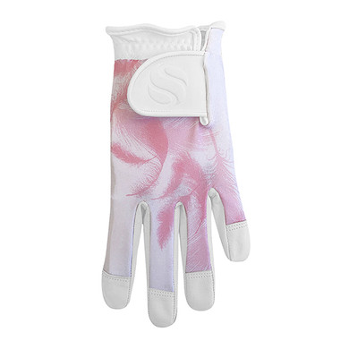 Lycra Comfort Stretch Leather  Ladies Golf Glove - Pink Feather