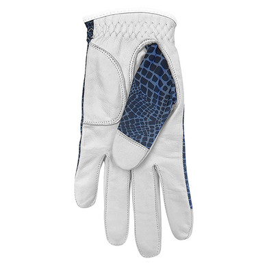 Cabretta Leather Lycra Comfort Stretch Ladies Golf Glove - Navy Snake