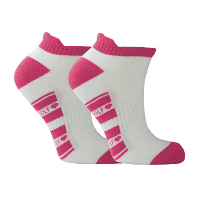 Pair Of Pink and White Ladies Golf Socks