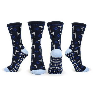 Pair of Navy Ladies Golf Crew Socks with Flag Design
