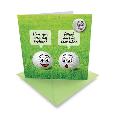'Golf Balls' Golf Greeting Card- With Ball Marker Included