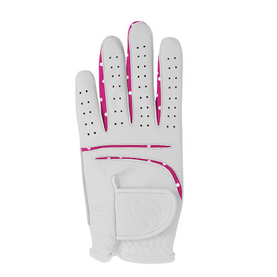Elegance Ladies All Weather Golf Glove- Pink with White Polka Dot Detailing