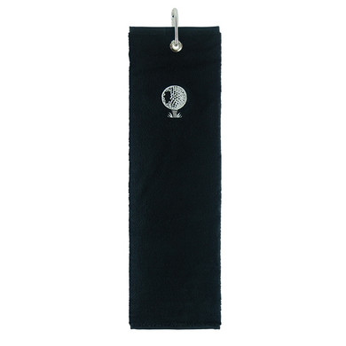 Cotton Trifold Golf Towel -Black