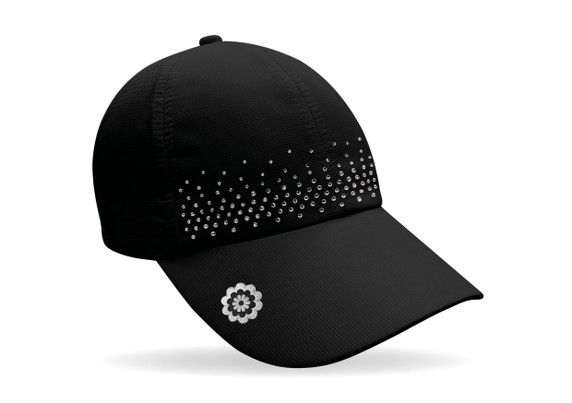 Ladies Golf Crystal Magnetic Soft Fabric Cap with Ball Marker- Black