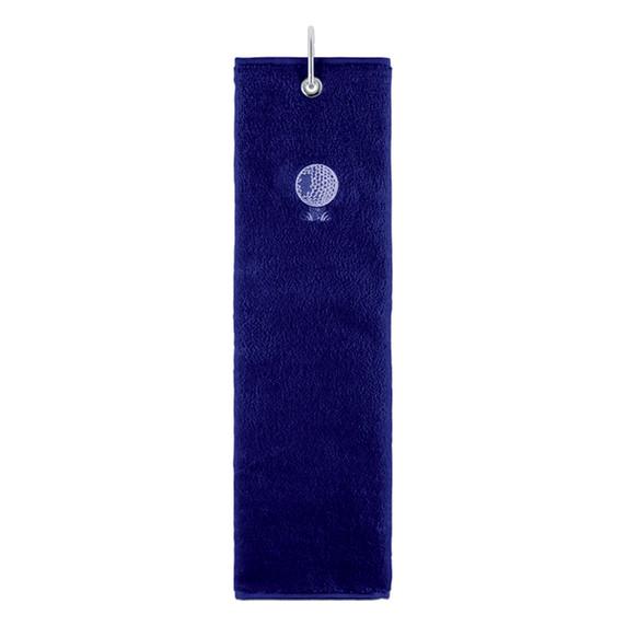 Cotton Trifold Ladies Golf Towel -Navy