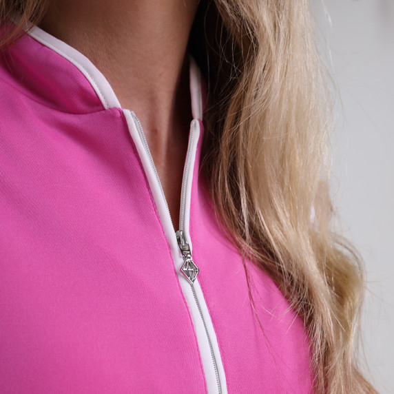 Pure Golf Bloom Ladies Sleeveless Polo Shirt - Azalea