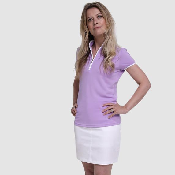 Pure Golf Bloom Ladies Cap Sleeve Polo Shirt - Lilac