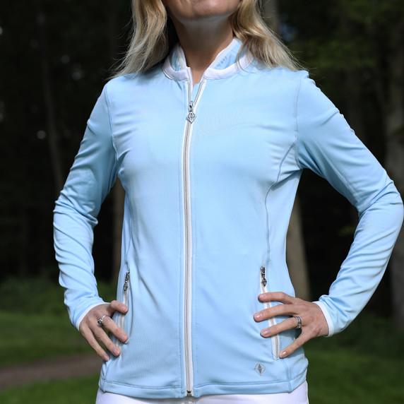Pure Golf Ladies Mist Full Zip Mid Layer - Pale Blue