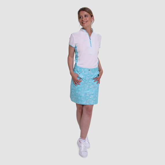 Pure Golf Clarity Paisley Print Skort 50CM- Ocean Blue