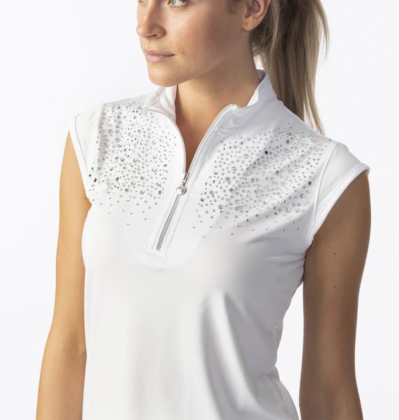 Daily Sports Ladies Parisa Cap Sleeve Polo- White