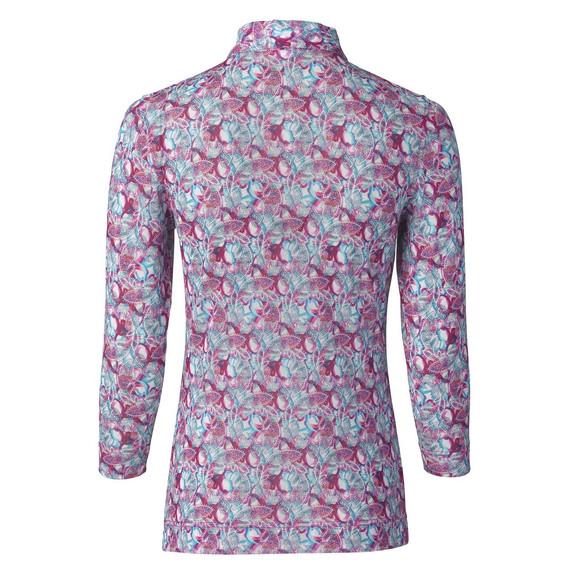 Daily Sports Paisley Three Quarter Sleeve Polo Shirt Azul Blue - Rear