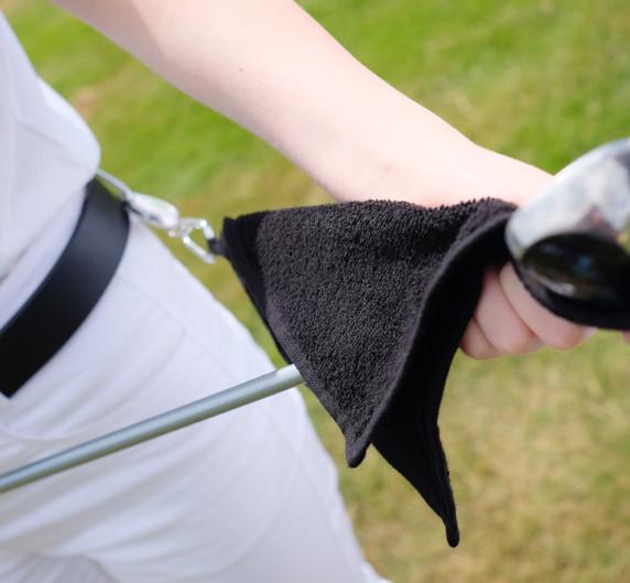 Lady Golfer Retractable Towel - Navy