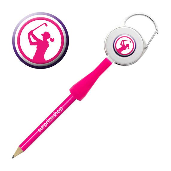 Lady Golfer Retractable Pencil - Pink