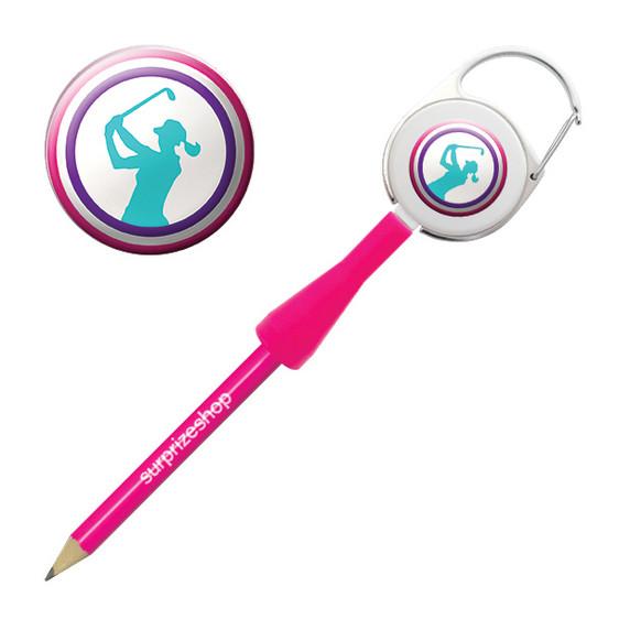 Lady Golfer Retractable Pencil - Multicoloured