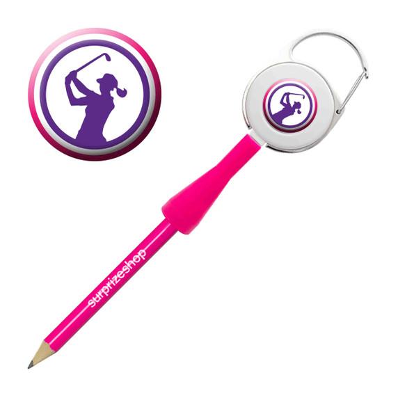 Lady Golfer Retractable Pencil - Purple